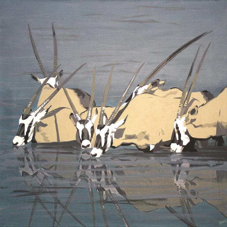 schilderij painting Gemsbokken