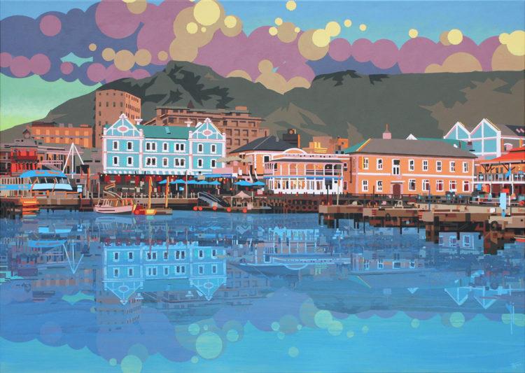 schilderij painting Capetown Waterfront