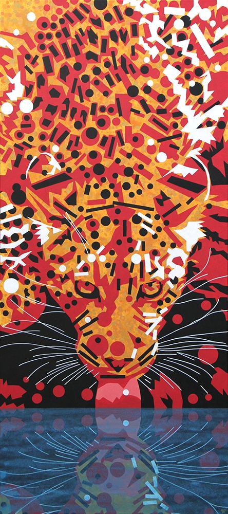 schilderij painting Dorstig Luipaard
