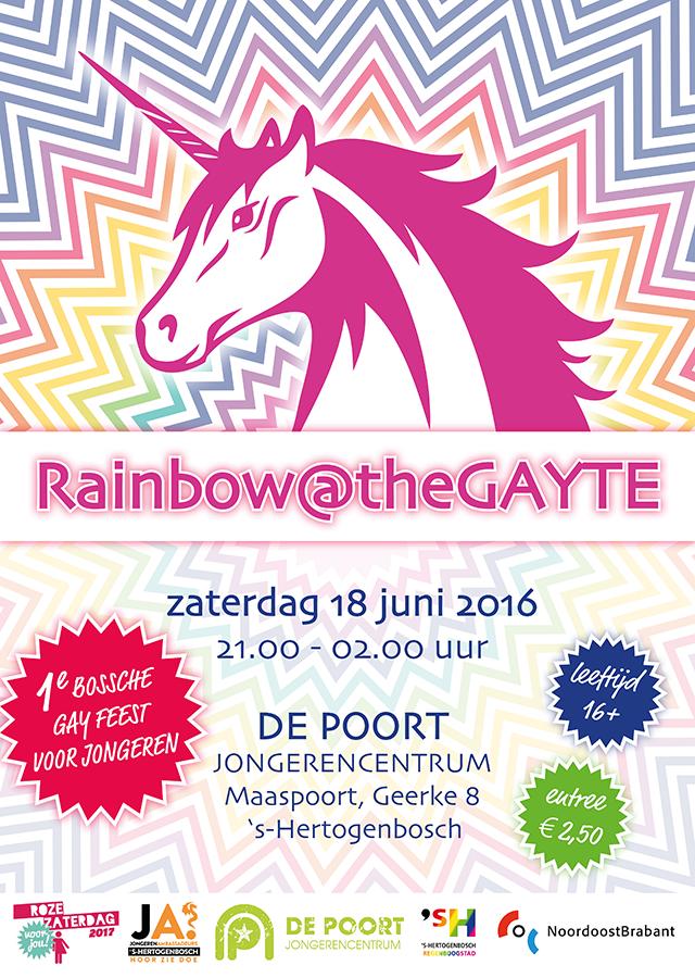 Poster jongerenfeest Rainbow@theGAYTE